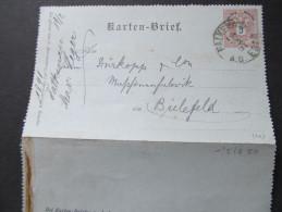 Korrespondenzkarte Kartenbrief Falkenau A.d.Eger - Bielefeld ///  D*16788 - 1850-1918 Imperium