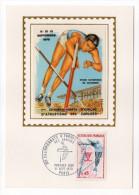 1970--Carte Maximum-Soie-Sport-1°championnat D'Europe D'athlétisme Juniors-Stade De COLOMBES-signée Chesnot-cachet PARIS - Cartes-Maximum