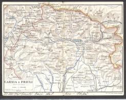 7005-CARTINA SCALA 1:500.000 CARNIA E FRIULI-1904-FP-DOPPIA - Landkarten