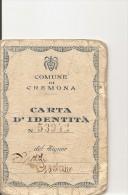 J-CARTA D'IDENTITA COMUNE DI CREMONA 1946-CON FOTO E MARCHE DA BOLLO - Historische Dokumente