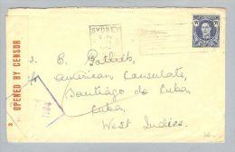 OZ Australien 1943-01-09 Zensurbrief Nach Santiago Di Cuba - 1937-52 George VI