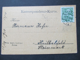 Korrespondenzkarte PETTAU - Knittelfeld Fa.Wilhelm Sirk 1910  ///  D*16814 - Briefe U. Dokumente