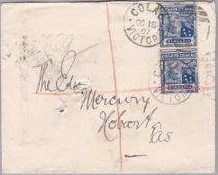 OZ Australien 1907-10-16 COLAO Brief Mit 2Pence 1/2Penny Senkrechtes Paar - 1850-1912 Victoria