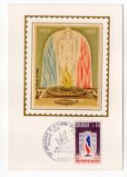 1973--Carte Maximum-Soie-50°anniv Flamme Sous Arc De Triomphe-signée Chesnot-cachet PARIS--75 - Cartes-Maximum