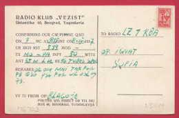 "176779  /  QSL CARD - 1957 RADIO KLUB "" VEZIST "" BEOGRAD QSL REVENUE STAMP   Yugoslavia Jugoslawien Yougoslavi - Radio"