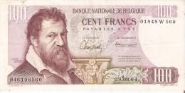 BILLETE DE BELGICA DE 100 FRANCOS DEL AÑO 1964  DE LAMBERT LOMBARD  (BANK NOTE) - [ 2] 1831-... : Reino De Bélgica