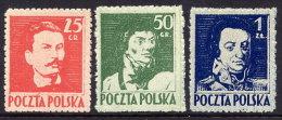 POLAND 1944 Liberation Heroes Set Signed Cicrecki  MNH / **.  Michel 380-82C - 1944-.... Republic