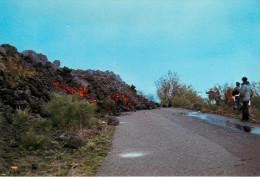 Italie - Sicilia - Catania - Volcans - Volcan - Etna - La lave couvre l'une des routes de l'Etna - 2 scans