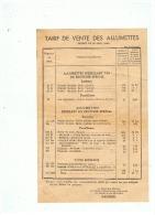 TARIF DE VENTE DES ALLUMETTES  DECRET DU 26 AOUT  1946 - Documentos Antiguos