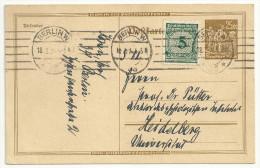 Deutschland 1923 DR Ganzsache PP49 PP 49 P I. RR Gebraucht 25 M Mit Zusatzfrankatur 5 Von Bonn 18.3.24 Nach Bonn 2 Scans - Germany