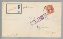 OZ Cook Island Aitutaki 1924-04-10 R-Brief Nach USA Mit 1 Sh. - Cook