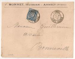Bloc Dateur Mixte, ANNECY Haute Savoie Sur Devant SAGE. F. MONNET Huissier. - 1876-1898 Sage (Tipo II)