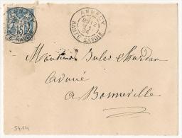 Bloc Dateur BATON, ANNECY Haute Savoie Sur Devant SAGE. - 1876-1898 Sage (Type II)