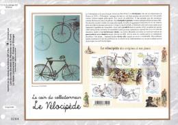 """Feuillet CEF 1er Jour N°té En Soie De 2011 N° 2117s """" LE VELOCIPEDE """". N° YT F4555 . Parfait état."""