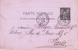 EP Y&T 89 CP 2  Obl ALGER Du 03.01.82 Adressée à Paris - Repiquage Librairie Adolphe Jourdan - 1877-1920: Periodo Semi Moderno