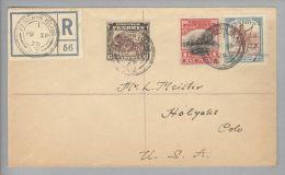 OZ Cook Island Penrhyn 1929-09-10 R-Brief Nach USA Mit 6P.+1P.+2,5P. - Cook