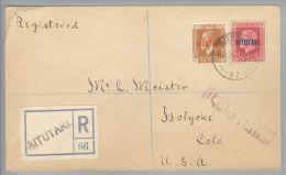 OZ Cook Island Aitutaki 1926-09-08 R-Brief Nach USA Mit 1,5D + 6D - Cook