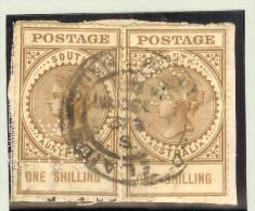 OZ Australien South Australia Fiskalmarke 1 Shilling 2x Perfin - 1855-1912 South Australia