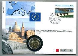 3502 - MALTA - Numisbrief Von 2012 Mit 2 Euro Münze - Malta