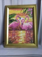 Framed Gobelin Tapestry Handmade Flamingos New - Rugs, Carpets & Tapestry