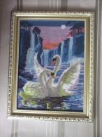 Framed Gobelin Tapestry Handmade Swans In Lake New - Rugs, Carpets & Tapestry