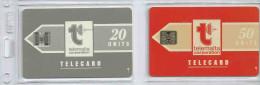 Télécartes Malte Malte Phonecards Vintage -  2 Cartes 20 Et 50 Units - Malte