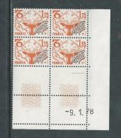 France Préoblitéré N° 152 XX  Signes Zodiaque : 1 F. 15 En Bloc De 4 Coin Daté Du 9 . 1 . 78 ; 1 Trait, Sans Ch., TB - Vorausentwertungen