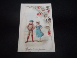 Chromo . 7 X 10,5. Enfants De Pêcheurs .Fleurs .Marguerites .Poème De Balzac Voir 2 Scans . - Trade Cards