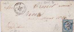 RHONE - Oblit GC  Sur Timbres - 2145B LYON LA GUILLOTIERE22 T15Date :1867Ind : 2  (Lot71_9) - Marcophilie (Lettres)