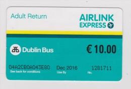 TICKET DE  TRANSPORT  BUS  AIRLINK EXPRESS  : AEROPORT/ CENTRE VILLE  DUBLIN 10� / UTILISE