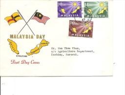Iles ( FDc de Malaisie de 1963  voyag� vers Sarawak � voir)
