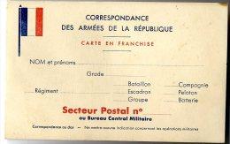 FRANCHISE MILITAIRE   DRAPEAU   CORRESPONDANCE DES ARMEES FRANCAISE DE LA REPUBLIQUE   CARTE POSTALE NON ECRITE - Marcophilie (Lettres)