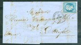 N°14 Sur LAC Oblitéré Petits Chiffre 1286 - Flers De L'orne  En Aout 1858 - Malb4801 - Marcophilie (Lettres)