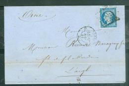 N°14  Sur LAC Oblitéré Losange D PARIS EN 1859 Malb4805 - Marcofilia (sobres)