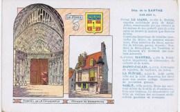 Cpa DEP DE LA SARTHE Portail De La Cathedrale Maison Du Grabatoire ( Au Dos Les Pastilles Val Da Previennent Et Combatte - France