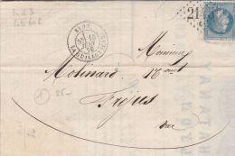 RHONE - Oblit GC  Sur Timbres - 2145E  LYON LA GUILLOTIERE29 T17Date :1870Ind :3   (Lot71_15) - Marcophilie (Lettres)