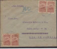 O) 1935 BRAZIL, MULTIPLE COVER, 2 PAIRS INTERNALLY USED, 1000 REIS, XF - Brazil