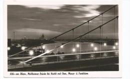 I3255 Koln Am Rhein - Mulheimer Brucke Bei Nacht Mit Dom - Messe Und Fordturm - Notte Nuit Night / Viaggiata 1952 - Köln