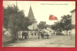 MNQ-14  Pouilly-sur-Charlieu Loire, Place De L'Eglise, Attelage, ANIME.  Circulé En 1913 - Otros Municipios