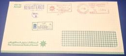 Kuwait Registered Cover 1984  Meter Franked Kuwait Commercial Bank
