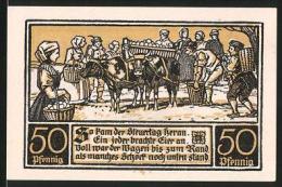 Notgeld Ditfurt 1921, 50 Pfennig, Bürger Sammeln Eier Um Steuern Zu Bezahlen - Lokale Ausgaben