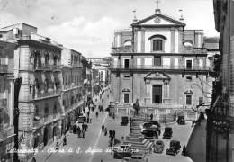 """03629 """"CALTANISETTA - CHIESA DI S. AGATA DEL COLLEGIO"""" ANIMATA, AUTO ANNI '30/40. CART. ILLUSTR.  ORIG. SPEDITA 1965 - Caltanissetta"""