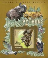 SIERRA LEONE 2015 - Pythons, Elephant S/S II. Official Issue. - Elephants