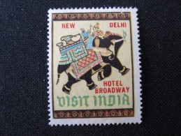 HOTEL MOTEL INN MINI STAMP BROADWAY CALCUTTA NEW DELHI BOMBAY INDIA DECAL STICKER LUGGAGE LABEL ETIQUETTE AUFKLEBER - Hotel Labels