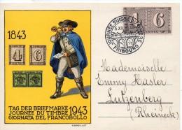 SUISSE CARTE JOURNEE DU TIMBRE 1943 - Marcophilie