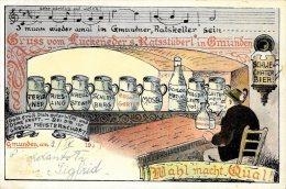 [DC4703] CARTOLINA - GERMANIA - GRUSS VOM LUCKENEDER'S RATSSTUBERL IN OMUNDEN - Viaggiata - Old Postcard - Non Classificati