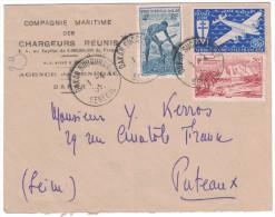 AOF - Lettre à 10F Cad DAKAR SUCCURSALE SENEGAL Affranchie N° 1 Poste Aerienne Compagnie Maritime Chargeurs Reunis - Covers & Documents
