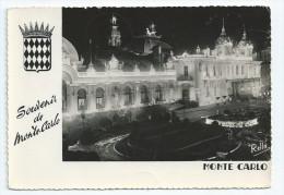 CPA CPSM Souvenir De Monte Carlo Le Casino Effet De Nuit 1955 Pour Chateau Angeville à Hauteville 01 Ain - Monte-Carlo