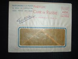 LETTRE EMA C 1304 à 250 Du 22 1 46 PARIS 114 (75) PARFUM CUIR DE RUSSIE PARFUMERIE LT PIVER - Storia Postale