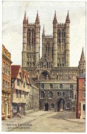 Lincoln Cathedral & Exchequer Gate By A R Quinton Colour Postcard - J Salmon Ltd No 3897 - Unused - Quinton, AR